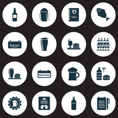 Drink icons set with tavern, record an order, bar menu and other draught elements. Isolated vector illustration drink icons.