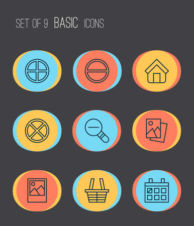 Web icons set with trading basket, remove, decrease loup and other estate elements. Isolated vector illustration web icons.