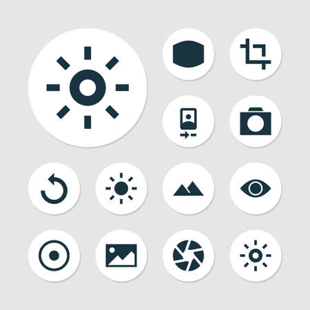 Image icons set with wide angle, reload, adjust and other monitor elements. Isolated illustration image icons.