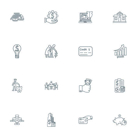 Finance icons line style set with bank, coins stacked, large business and other bachelor elements. Isolated illustration finance icons.