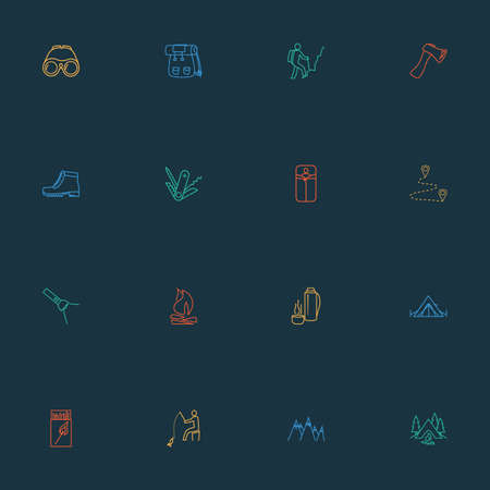 Activity icons line style set with fishing, mountains, swiss knife and other tourism