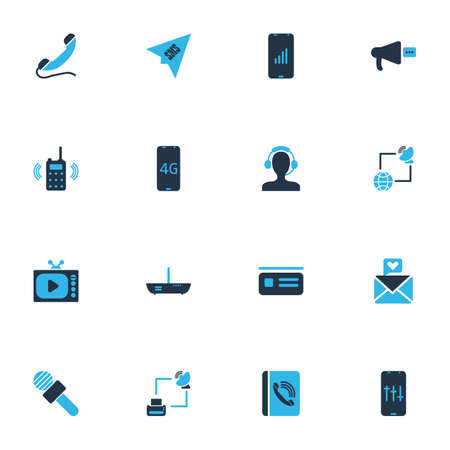 Connection icons colored set with love letter, audio adjustment, router and other megaphone elements. Isolated illustration connection icons.