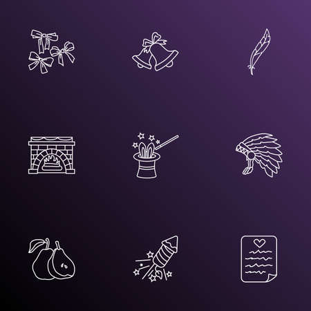 Thanksgiving icons line style set with magicians hat, fireworks, festive bow and other headdress elements. Isolated illustration thanksgiving icons.