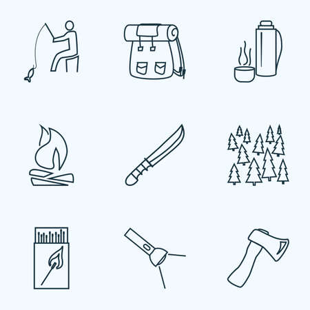 Camping icons line style set with flash light, thermos, bonfire and other sharp elements. Isolated illustration camping icons.