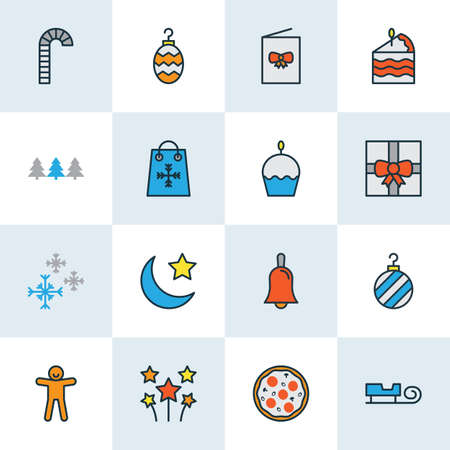 Holiday icons colored line set with cupcake, christmas tree toy, bauble and other sled   elements. Isolated vector illustration holiday icons.