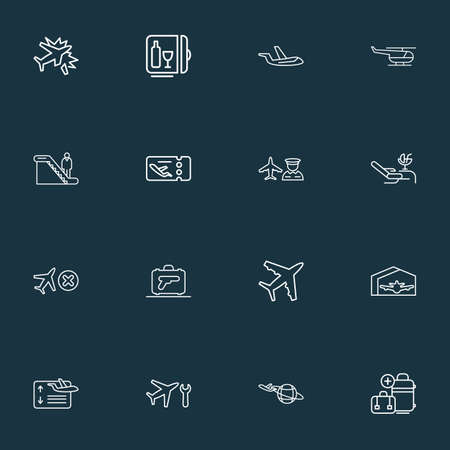Airport icons line style set with man on escalator, lounge, plane around the world and other aviation elements. Isolated illustration airport icons.