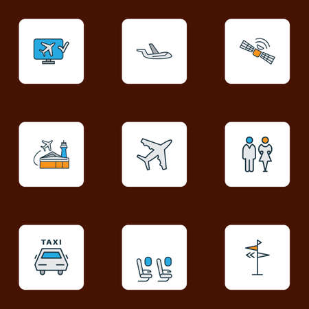 Transportation icons colored line set with plane seats, direction, aircraft and other airlines terminal