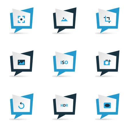 Image icons colored set with vignette, hdr, center focus and other photographing  elements. Isolated vector illustration image icons.