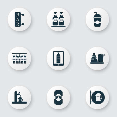 Beverages icons set with wine in the tab, liquor, bar and other chacha with ice   elements. Isolated vector illustration beverages icons. Illustration
