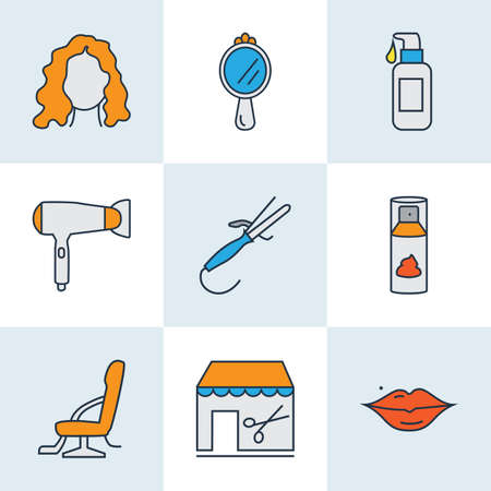 Barber icons colored line set with lips, hand mirror, barbershop cream elements. Isolated  illustration barber icons.