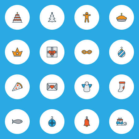 Holiday icons colored line set with gift, ginger cookie, christmas angel and other pepperoni   elements. Isolated vector illustration holiday icons. Illustration