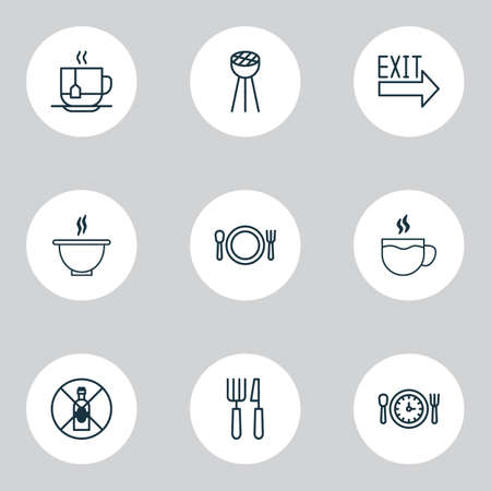 Restaurant icons set with cutlery, exit sign, soup and other silverware