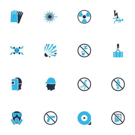 Protection icons colored set with laser beam, hand protection, radioactive drinkable