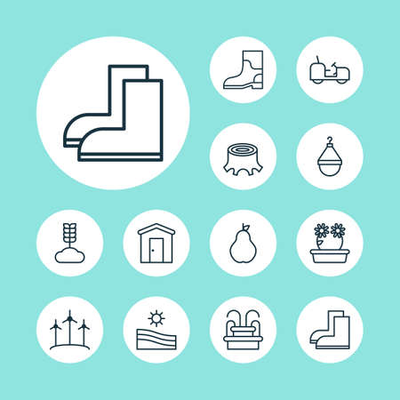 Garden icons set with wheat, waterproof boot, tractor and other water monument elements. Isolated vector illustration garden icons.
