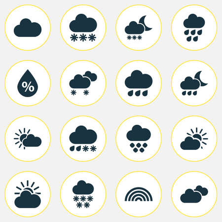 Weather icons set with rainy, sunlight, snowy and other raindrop   elements. Isolated vector illustration weather icons.