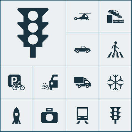 Transport icons set with rocket, loose chipping, pickup and other railway elements. Isolated vector illustration transport icons.