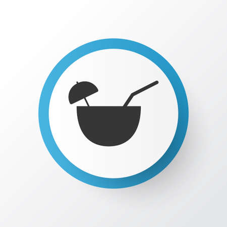 Coconut cocktail icon symbol. Premium quality isolated tropical drink element in trendy style.  イラスト・ベクター素材