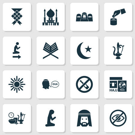 Ramadan icons set with man, muslim female, no alcohol and other malay  elements. Isolated vector illustration ramadan icons. Vettoriali
