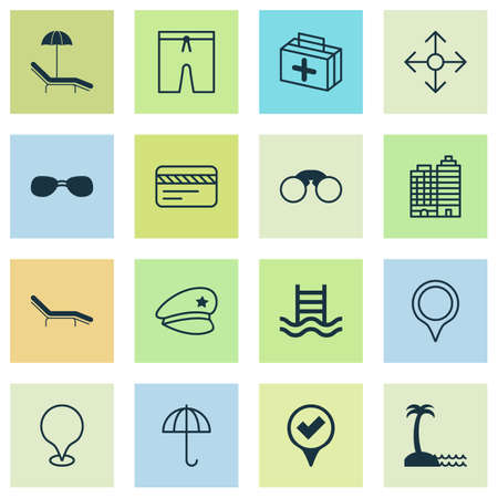 Travel icons set with medicine, seaside place, sunglasses and other chaise longue