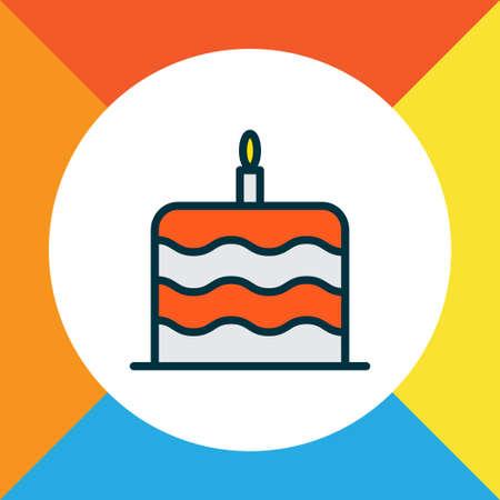 Cake icon colored line symbol. Premium quality isolated birthday dessert element in trendy style.