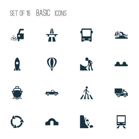 Transport icons set with road work, rocket, zebra crossing and other workman  elements. Isolated  illustration transport icons. Stock Photo