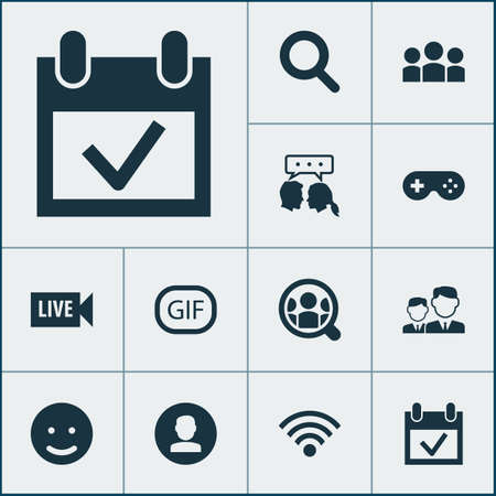 Social icons set with wi-fi, dialog, live video and other wireless connection