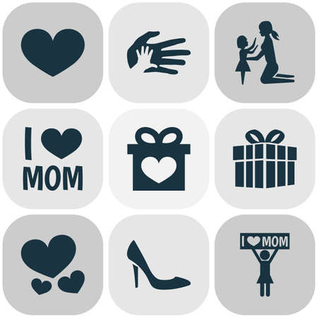 Mothers day icon design concept. Set of 9 such elements as palms, present and female. Beautiful symbols for love, heart and gift.