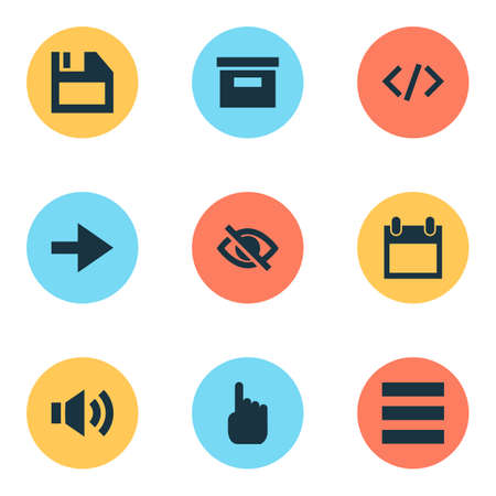 User icons set with hide, diskette, code and other date   elements. Isolated  illustration user icons.