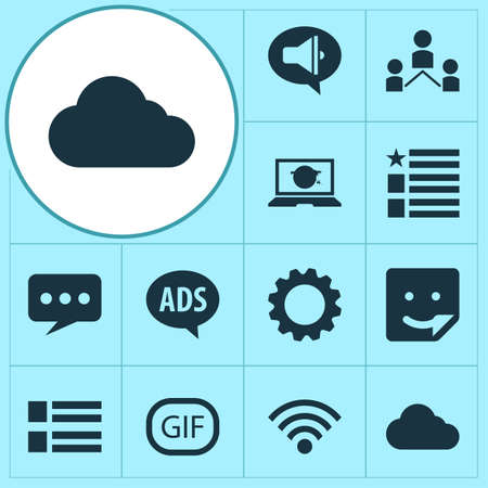 Social icons set with wi-fi, feed, network and other community  elements. Isolated  illustration social icons.