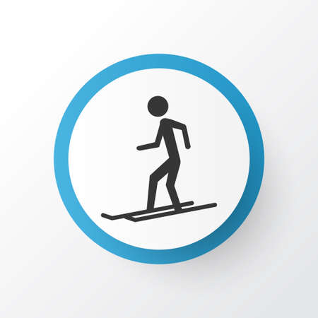 Skier icon symbol. Premium quality isolated slalom element in trendy style.