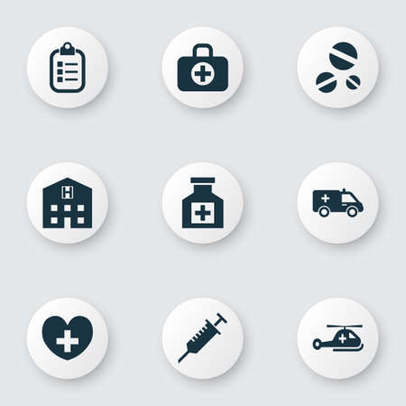 Medicine icons set with helicopter, stings, drug and other mark elements. Isolated vector illustration medicine icons.
