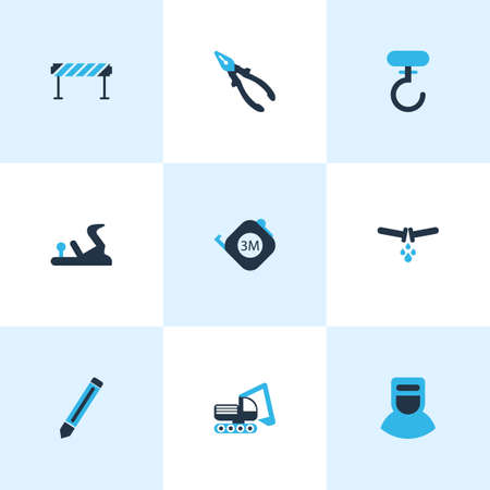 Construction icons colored set with roulette, plane, digger vehicle and other nippers  elements. Isolated vector illustration construction icons. Illustration
