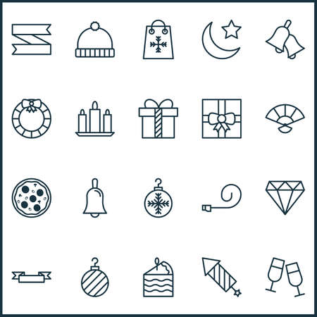 Holiday icons set with clink glasses, bells, diamond and other garland 