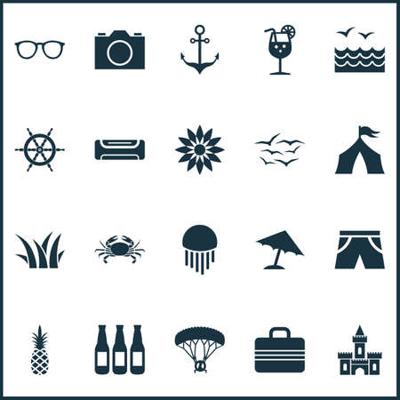 Sun icons set with flower, camera, sea and other marine