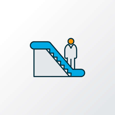 Man on escalator icon colored line symbol. Premium quality isolated walkway element in trendy style.