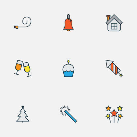 Year icons colored line set with christmas tree, party blower, fireworks and other home