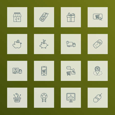 Ecommerce icons line style set with quality, coupon, mobile shop and other online shopping  elements. Isolated vector illustration ecommerce icons.