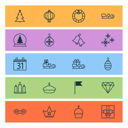 Year icons set with sledge, diamond, glass toy and other toboggan