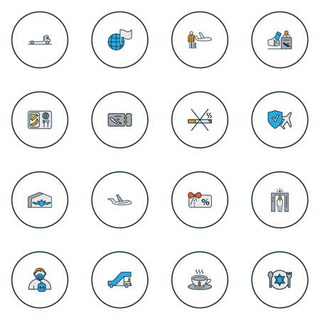 Traveling icons colored line set with globe with flag, plane food, gangway and other plane elements. Isolated vector illustration traveling icons.