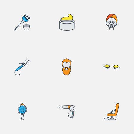 Ligne colorée d'icônes de coiffeur avec chaise de barbier, sèche-cheveux vintage, fer à friser et autres éléments de cils. Icônes de coiffeur illustration vectorielle isolé.