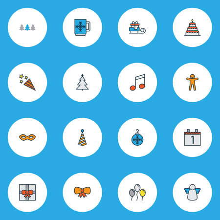 Happy icons colored line set with festive mask, day 1, firecracker and other present   elements. Isolated vector illustration happy icons.