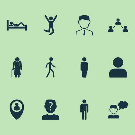 Human icons set with anonymous, employee, success and other gentleman