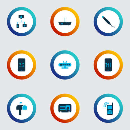 Telecommunication icons colored set with audio adjustment, connector plug, mobile connection and other gadget