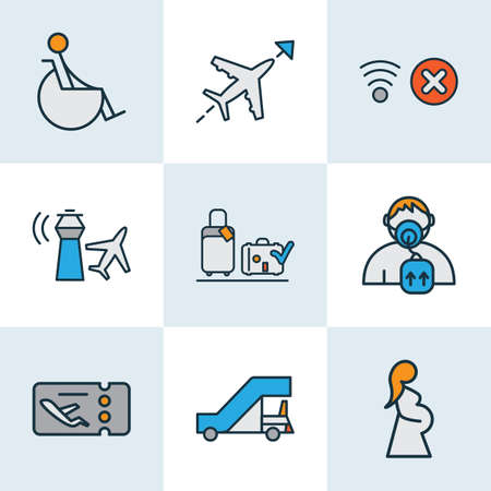 Airport icons colored line set with gangway, no network, pregnant woman and other respiratory  elements. Isolated vector illustration airport icons. 向量圖像