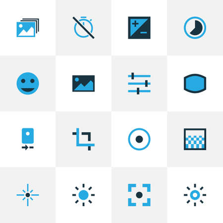 Photo icons colored set with gradient, tag face, center focus and other accelerated  elements. Isolated vector illustration photo icons.