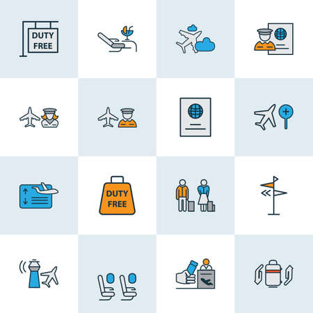 Traveling icons colored line set with search flight, flight board, lounge and other people