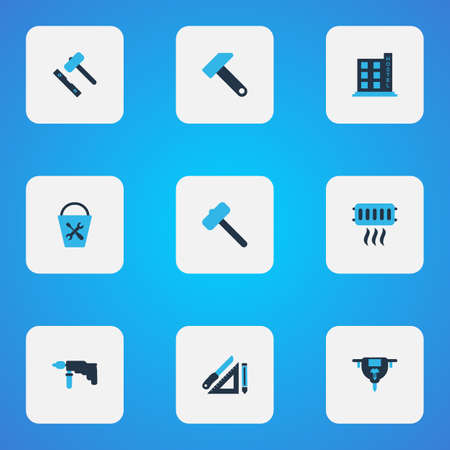 Construction icons colored set with bucket tools, heating, set for laying tiles and other carpentry  elements. Isolated vector illustration construction icons.