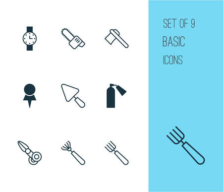 Tools icons set with pitchfork, chainsaw, scapula and other clippers   elements. Isolated vector illustration tools icons. Çizim