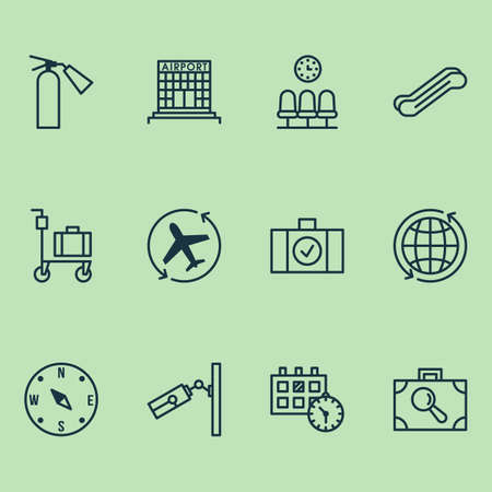 Traveling icons set with sprinkler, waiting room, escalator and other baggage research   elements. Isolated vector illustration traveling icons.