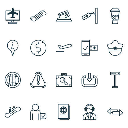 Travel icons set with direction arrows, mobile booking, call center and other airplane information   elements. Isolated vector illustration travel icons.